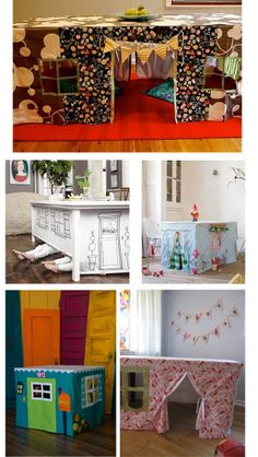 what a cool idea. turn any table into a playhouse. I remember doing this with my mom's old sewing table but mine was just a bunch of sheets - going to have to make for kiddos