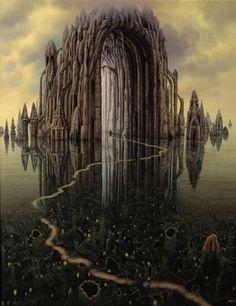 """Katedra"" by Jacek Yerka Fantasy Places, Fantasy World, Dark Fantasy, Fantasy Artwork, Fantasy Landscape, Landscape Art, Art Visionnaire, Art Du Monde, Magic Realism"