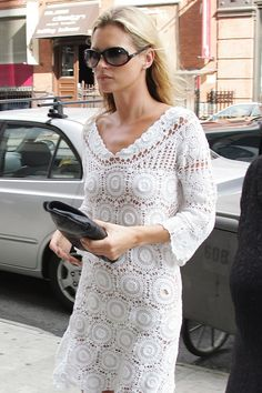 Kate Moss in a white #crochet dress from a Glamour article about how to wear crochet
