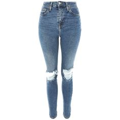 TopShop Moto Ripped Jamie Jeans (€62) ❤ liked on Polyvore featuring jeans, blue, ripped jeans, torn jeans, stretch jeans, destructed jeans and topshop jeans