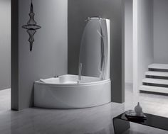 Corner Small Bathtubs With Shower And Black Glass Table