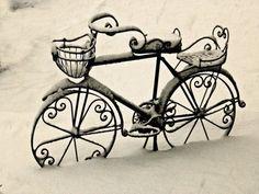 bike, cold, snow, winter, wonderful