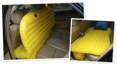 Inflatable Backseat Bed - when I was a kid, my dad built a frame to cover the backseat with foam on it so my brother and I could snooze while we were traveling... of course this was before seat belt laws,, =)