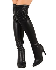 Breckelles BH81 Women Leatherette Pointy Toe Thigh High Stiletto Heel Boot - Black ** Check out this great product.