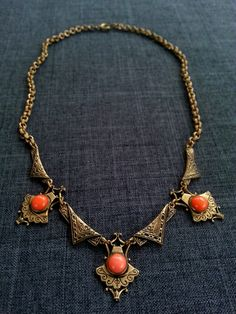 Vintage 1930s Victorian Revival Etched Gold Fill / Brass and Coral Cabs Bib Necklace by shopFiligree, $78.00