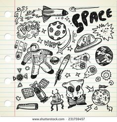 set of #space related #object in doodle style  - stock vector  #design #graphic #vector #illustration #doodle #sketch #element