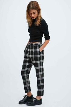 follow me @cushite Cooperative Skinny Check Trousers in Black - Urban Outfitters