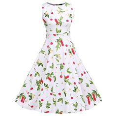 $19.39 BeautyGal Women's Back Zipper Bowtie Lace-up Cherry Print A-line…