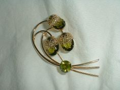 sarah coventry brooch vintage peridot by qualityvintagejewels, $38.00