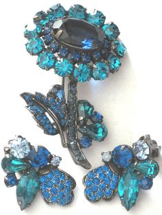 WEISS Blue Rhinestone Flower Pin Earring Set