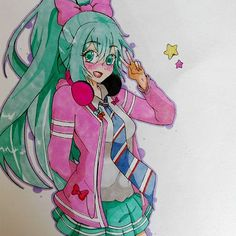 Awesome Hatsune Miku fanart drawn by @v and coloured with their Chameleon Pens.    #chameleonpens #art #paint #art #hatsunemiku #miku