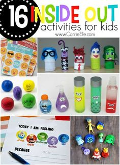 16 inside out activities for kids - carrie elle therapy activities, fun activities, disney Mental Health Activities, Feelings Activities, Therapy Activities, Preschool Activities, Kids Mental Health, Therapy Ideas, Summer Activities, Outdoor Activities, Inside Out Emotions
