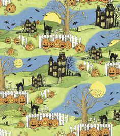Susan Winget Halloween fabric at JoAnn's Fabric Halloween Fabric, Halloween Patterns, Halloween Themes, Word Patterns, Samhain Halloween, Cat Flowers, Halloween Backgrounds, Scrapbook Paper, Scrapbooking