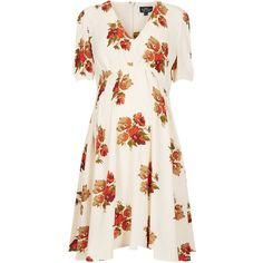 TOPSHOP Maternity Autumn Floral Dress (770 UAH) ❤ liked on Polyvore featuring maternity, dresses, maternity clothes, maternity dress and cream