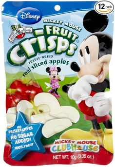 Brothers-ALL-Natural Freeze Dried Fruit Crisps Disney Mickey Mouse Sliced Apples 12 Pack, .35 Oz. Ea. (12 Bags Total)