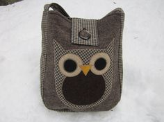 Owl crossbody bag totebag recycled wool by granniesraggedybags, $32.00