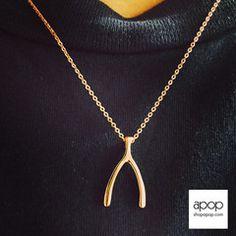 Rose Gold Wishbone Pendant Necklace