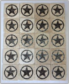 tumbled travertine with Texas Star inserts for backsplash in Classic Ivory. Shower Accent Tile, White Tile Shower, Red Kitchen Decor, Rustic Kitchen Design, Kitchen Ideas, Ceramic Tile Bathrooms, Bathroom Tile Designs, Monogram Appliances, Decorative Wall Tiles