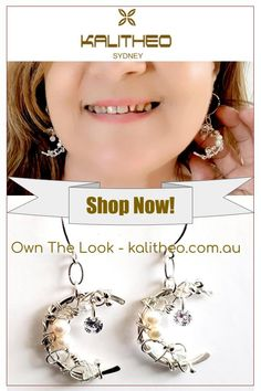 #SilverEarrings #SterlingSilverEarrings #CrescentMoonEarrings #ArtisanEarrings #GirlsEarrings Sparkling Crescent Moon Sterling Silver Wire Wrapped Artisan Earrings! Make an excellent gift for any occasion, birthday, Christmas, Valentine's Day, anniversary. Visit kalitheo.com.au for more designs.