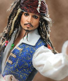 From http://ncruz.com. Jack Sparrow/Johnny Depp Doll Art Repaint by artist Noel Cruz