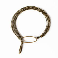 WARM MY SOUL - Bracelet Dream Catcher multi chaines et plume.