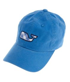 Gingham Whale Baseball Hat