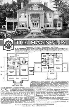 "An original ""Magnolia"" Sears Modern Homes advertisement (built-to-order) Only seven of this magnificent design (the largest and grandest Sears ever offered between 1918-1922) were built. One was razed, another lost to a fire and the others lovingly kept whole by their owners through-out the years. The ""Magnolia"" was a ten-room home in the Colonial-style with white siding, hipped roof, large brick chimney's and delicate balustrades and lots of airy spaces."