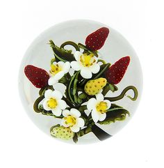 """""""Strawberries & Blossoms"""" Art Glass Paperweight Created by Clinton Smith"""