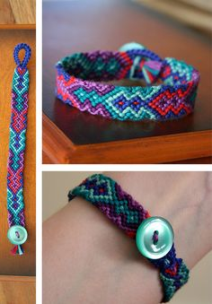 One of the MOST challenging friendship bracelets I've tried to make. But I love the Button detail at the end, pretty clever.