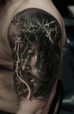 Jesus Tattoos - Tons of Jesus Tattoo Designs & Ideas - Tattoo Me Now Gott Tattoos, Bild Tattoos, Tattoos Arm Mann, Body Art Tattoos, Jesus Tattoo Design, Jesus 3d Tattoo, Jesus Forearm Tattoo, Jesus Tattoo Sleeve, Arm Sleeve Tattoos