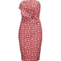 Badgley Mischka - Strapless Metallic Floral-cloqué Dress ($248) ❤ liked on Polyvore featuring dresses, brick, flower printed dress, glamorous dresses, flower print dresses, embelished dress and red dress