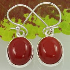 925 Sterling Silver CORAL(S) Oval Cabochon Gemstones Stunning Earrings Wholesale #SunriseJewellers #DropDangle