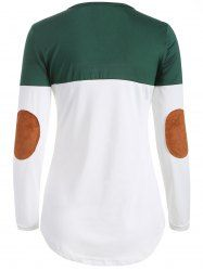 Elbow Patch Color Block T-Shirt - BLACKISH GREEN M