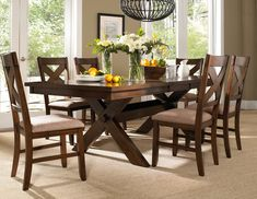 Amazon.com: Roundhill Furniture 7-Piece Karven Solid Wood Dining Set with Table and 6 Chairs: Furniture & Decor