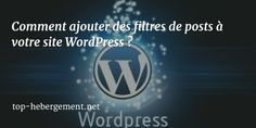 Ajouter des filtres dans les articles de wordpress