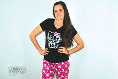 Hello Kitty Pijama Pantalón Rosa/Blusa negra $429