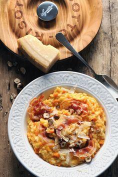 Dorian cuisine.com Mais pourquoi est-ce que je vous raconte ça... : Risotto très crémeux aux patates à la pancetta et aux noisettes parce que finalement le risotto c'est tout simple ! Rissoto, Wine Recipes, Pasta Recipes, Risotto Cremeux, Hawaiian Pizza, Paella, Dorian Cuisine, Macaroni And Cheese, Salads