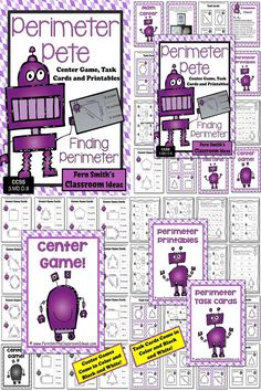 Perimeter Pete Mega Math Pack - Finding Perimeter Printables, Task Cards and Center Game For 3.MD.D.8 ~ 50 Pages! #TPT $Paid