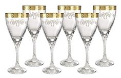 5th Avenue Collection Italian Crystal Wine Glass with 14k Gold Rim Set of 6  Add A Touch Of Elegance To Your Drinking Experience. Serve And Drink In Style With In A Set Of Handcrafted Fine 5th Ave Store Glass. Goblet Red Wine Glass set Glasses Feature Gold rim Pattern With 14 Karat Gold. Made in the Tuscan region of Italy. Glassware Is Perfect For Serving Champagne, Sparkling Wine, Water Or Other Drinks To Accompany Fine Dining Or Social Gatherings In Your Kitchen Or Bar. Certificate..