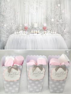 & Wintery Snow Princess Dessert Table Gorgeous pink and white snowflake dessert table. So cute for a girl winter baby shower theme.Gorgeous pink and white snowflake dessert table. So cute for a girl winter baby shower theme. Fiesta Baby Shower, Baby Girl Shower Themes, Babyshower Themes For Girls, Baby Party, Baby Shower Parties, Cadeau Baby Shower, Lila Baby, Fun Baby, Winter Wonderland Birthday