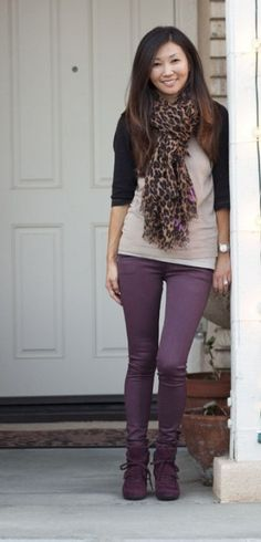 Plum jeggings outfit-Have these jeggings but have a hard time finding things to go with Purple Fall Outfits, Leopard Outfits, Fall Winter Outfits, Autumn Winter Fashion, Leopard Scarf, Winter Style, Fashion 101, Fashion Outfits, Jeggings Outfit