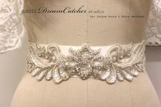Couture Pivonia vinatge crystal and pearl bridal sash - L004