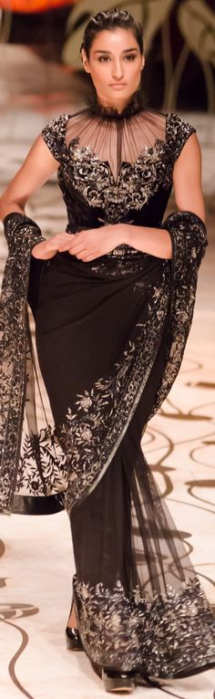 Rohit bal saree. The blouse detail is just perfect.[[Six yard- The Saree ❤•。*゚•★]]