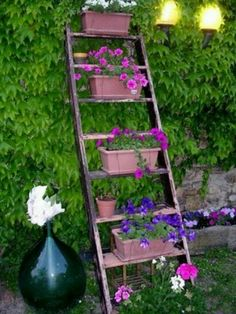 Ideas, Broken Wooden Ladder Can Be Used As A Decorative Plant Shelving Small Spot In The Backyard That Is Walled Vines DIY Decoration Garden: Fascinating Shelves Storage Design for Space-saving Idea Ladder Display, Ladder Decor, Ladder Shelves, Garden Ladder, Old Ladder, Pink And Blue Flowers, Bright Pink, Colorful Flowers, Diy Inspiration
