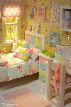 Pastel Rainbow Room - - Soon. Barbie Furniture, Dollhouse Furniture, Girls Bedroom, Bedroom Decor, Shabby Bedroom, Bedrooms, Cozy Bedroom, Design House Stockholm, Rainbow Room