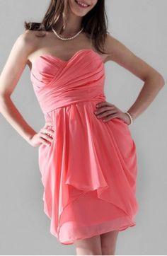 Sheath/ Column Sweetheart Short/ Mini Chiffon Bridesmaid Dress
