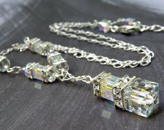 Wedding Necklace, Crystal, Swarovski, Cube, Sterling Silver, Sparkly, Bridal, Handmade Jewelry. $85.00, via Etsy.