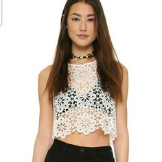 Modern Crocheted Crop Top Ivory Colored | Fits Size Small (because of free people sizes) | Never before tried on! Saving for Poshers (; Free People Tops Crop Tops