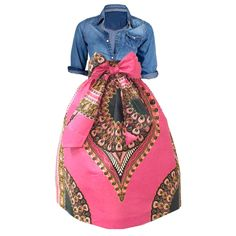 Kaya African Print Dashiki Midi Skirt with Sash (Fuchsia Pink/Green)