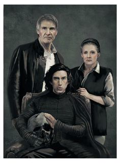 This art is stunning! The Solo family portrait! ♥ #HanSolo #LeiaOrgana #BenSolo #KyloRen by Brandon Dennis